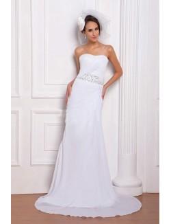 White Column Sweetheart Court Train Chiffon Lace Up Wedding Dresses