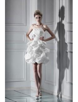Ball Gown Strapless Short Ruffles Flower Taffeta Summer Wedding Dress