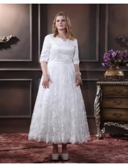 V Neck 1 2 Long Half Sleeves Ankle Length Lace A Line Wedding Dresses