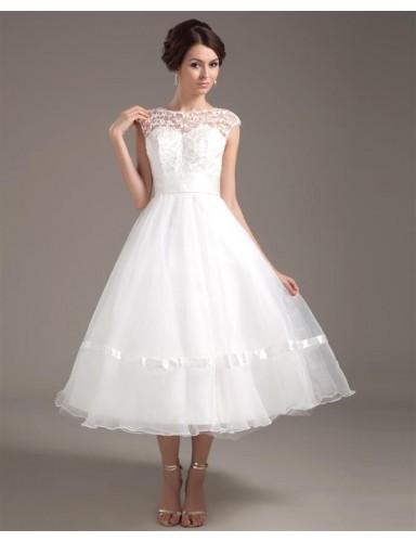 A Line Bateau Tea Length Backless Organza Lace Summer Wedding Dresses