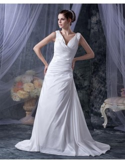 Fabulous A Line V Neck Straps Sweep Train Taffeta Lace Up Wedding Gown
