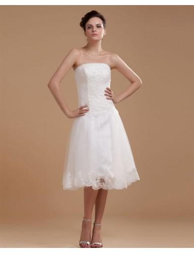 A Line Strapless Knee Length Appliques Organza Summer Wedding Dresses