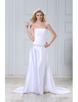 White A Line Strapless Sweep Train Beading Satin Lace Up Wedding Dress