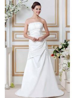 Grace A Line Strapless Court Train Appliques Satin Wedding Dresses