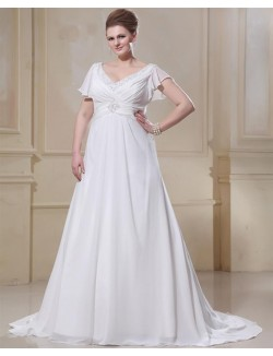 A Line V Neck Cap Sleeves Chiffon Plus Size Maternity Wedding Dresses