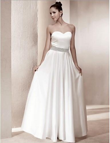 A Line Sweetheart Strapless Floor Length Beading Satin Wedding Dresses