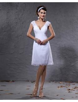 Column V Neck Sleeveless Knee Length Satin Lace Summer Wedding Dresses