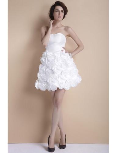 Sweetheart Strapless Mini Flowers Satin Ball Gown Summer Wedding Dress