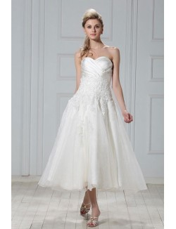 A Line Strapless Sweetheart Tea Length Satin Organza Wedding Dresses