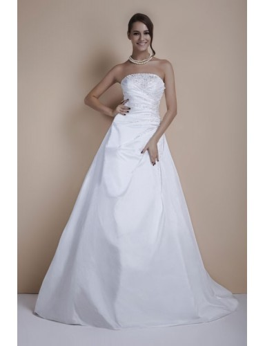 White Strapless Court Train Beading Satin Lace Up A Line Wedding Dress