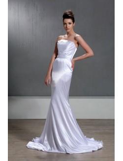 Sxey White Strapless Sweep Train Silk Like Satin Mermaid Wedding Dress