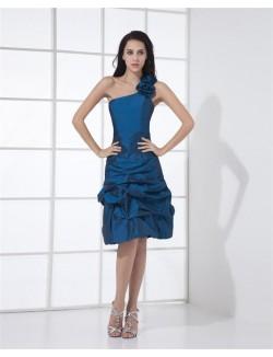 Ball Gown One Shoulder Knee Length Flowers Taffeta Cocktail Dresses