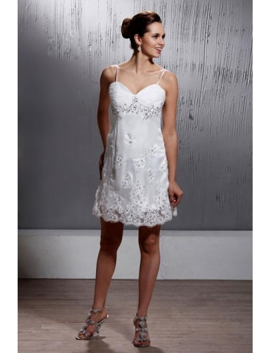 A Line Spaghetti Straps Sweetheart Short Lace Summer Wedding Dresses