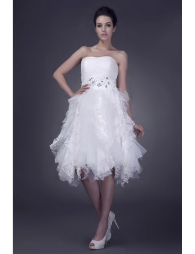 Ball Gown Strapless Asymmetry Crystal Organza Summer Wedding Dresses