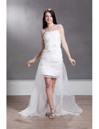 A Line Strapless Asymmetry Tiers Organza Summer Short Wedding Dresses