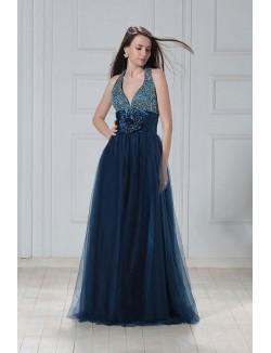 Unique A Line Halter Floor Length Beads Flower Satin Tulle Prom Dress