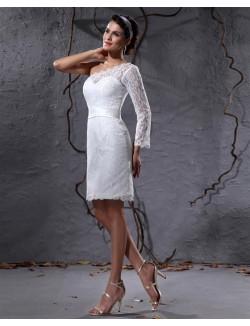Column Sloping One Sleeve Mini Satin Lace Beach Summer Wedding Dresses
