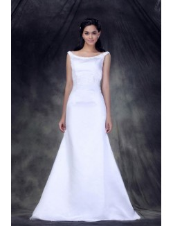 White Bateau Sweep Brush Train Appliques Satin Mermaid Wedding Dresses