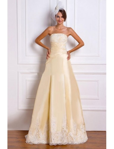 Gold A Line Strapless Court Train Satin Lace Up Wedding Dresses Gowns