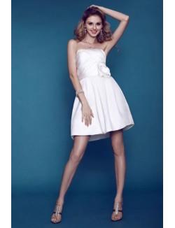 Pretty A Line Strapless Short Mini Flower Satin Summer Wedding Dresses