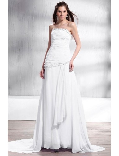 White Strapless Sweep Train Chiffon Lace Up Beach A Line Wedding Dress