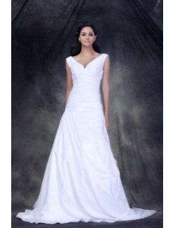 White A Line Off The Shoulder Court Train Taffeta Lace Up Wedding Gown