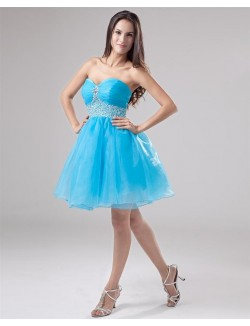 Cute A Line Sweetheart Strapless Short Organza Prom Cocktail Dresses
