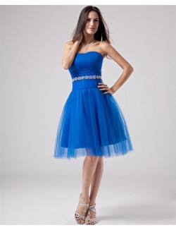 A Line Strapless Knee Length Beads Satin Tulle Prom Cocktail Dresses
