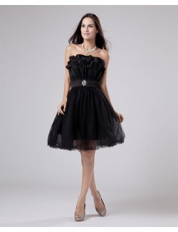 Black A Line Scalloped Knee Length Crystal Organza Prom Cocktail Dress