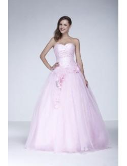 Ball Gown Sweetheart Strapless Flowers Floor Length Tulle Prom Dresses