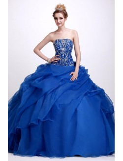 Royal Blue Ball Gown Strapless Floor Length Ruffles Organza Prom Dress