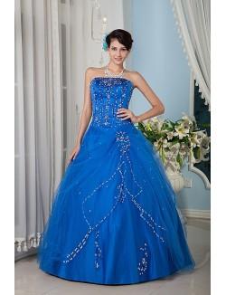 Royal Blue Ball Gown Strapless Floor Length Satin Tulle Prom Dresses