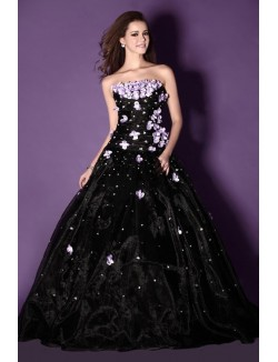 Black Ball Gown Strapless Floor Length Flowers Organza Prom Dresses
