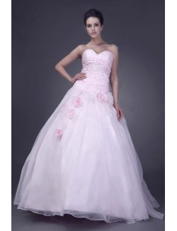 Pink Ball Gown Sweetheart Floor Length Flowers Organza Prom Dresses