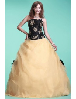 Ball Gown One Shoulder Floor Length Embroidery Organza Prom Dresses