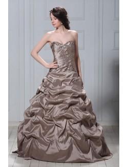 Brown Ball Gown Sweetheart Strapless Ruffles Organza Corset Prom Dress