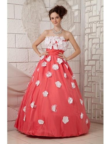 Unique A Line Strapless Floor Length Flowers Satin Tulle Prom Dresses