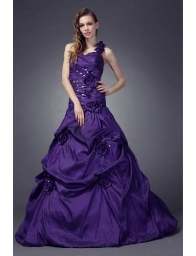 Purple A Line One Shoulder Floor Length Flowers Taffeta Prom Dresses