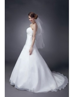 A Line Strapless Court Train Satin Organza Wedding Bridal Dresses Gown