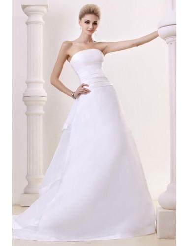 White Strapless Court Train Satin A Line Modest Wedding Bridal Dresses