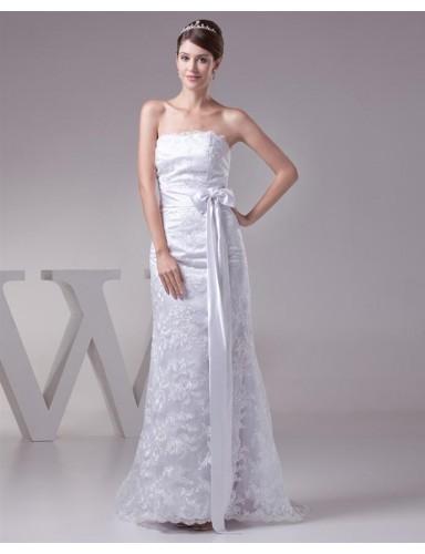 White Column Strapless Sashes Silk Like Satin Lace Wedding Dresses