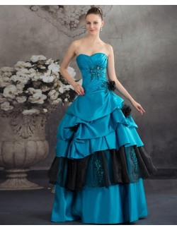 Blue Ball Gown Sweetheart Strapless Flowers Satin Organza Prom Dresses