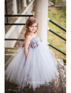 Princess Grey Tulle Spaghetti Strap Floor Length Flower Girl Dress
