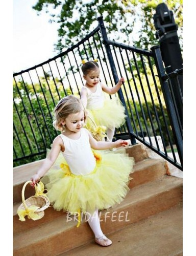 Cute Two Tone White And Yellow Short Tulle Flower Girl Dress