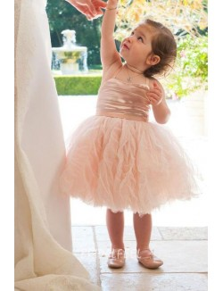 Cute Spaghetti Strap Short Blush Satin Tulle Flower Girl Dress