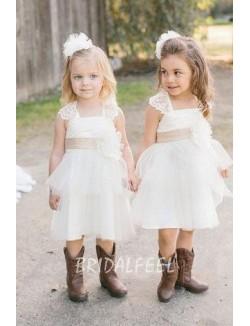 Cap Sleeves Short Knee Length Cute Lace Tulle Flower Girl Dress