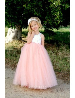 Beautiful White And Pink Two Tone Floor Length Tulle Flower Girl Dress
