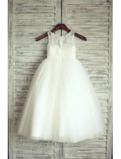 White Puffy Tulle Sleeveless Tea Length Princess Flower Girl Dress