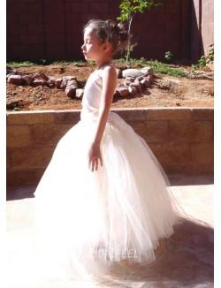 Halter Neck Puffy Tulle Floor Length Long White Flower Girls Dress