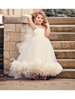 Ivory Organza Spaghetti Strapless Tea Length Flower Girl Dress With Feather